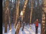 My girlfriend naked in winter forest