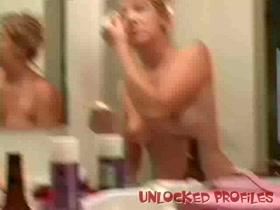 Sweet Blonde Girl Exposing Boobs in the Bathroom