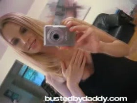 Blonde GF Taking Pictures of Her Tits in the Mirror